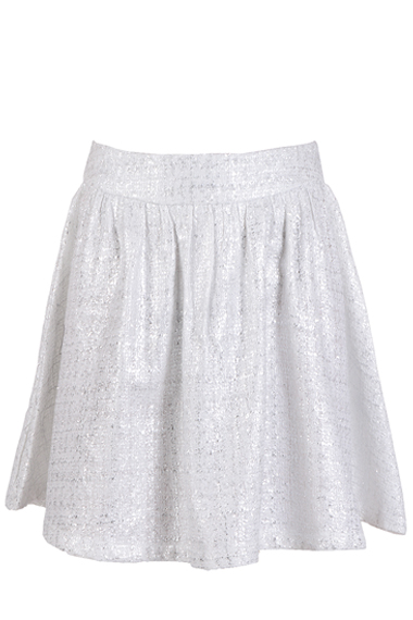 SWEEWË AZELIN Metallic White Mini Skirt