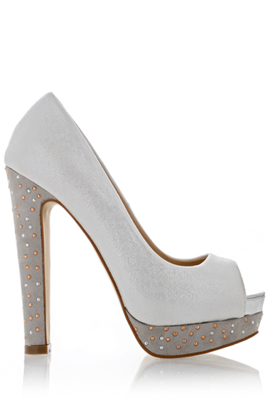 TIMELESS  SERENITY Metallic Silver Peep Toes