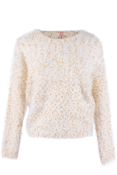 SWEEWË ROSEMARY Beige Gold Fluffy Jumper