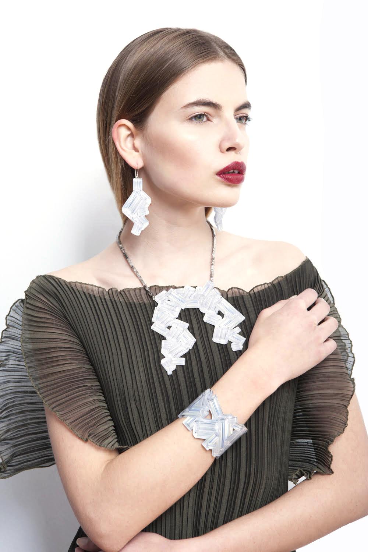 Wrap & tie pleated dress & Trompe l'oeil jewelry.jpg