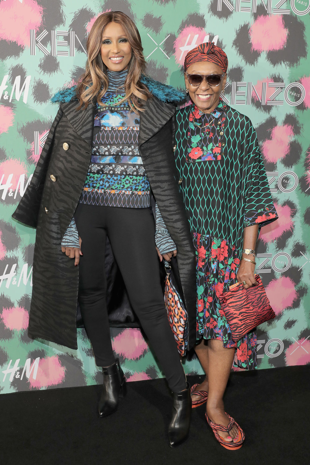 NEW YORK, NY - OCTOBER 19:  Iman and Bethann Hardison attend KENZO x H&M Launch Event Directed By Jean-Paul Goude'  at Pier 36 on October 19, 2016 in New York City.  (Photo by Neilson Barnard/Getty Images for H&M)