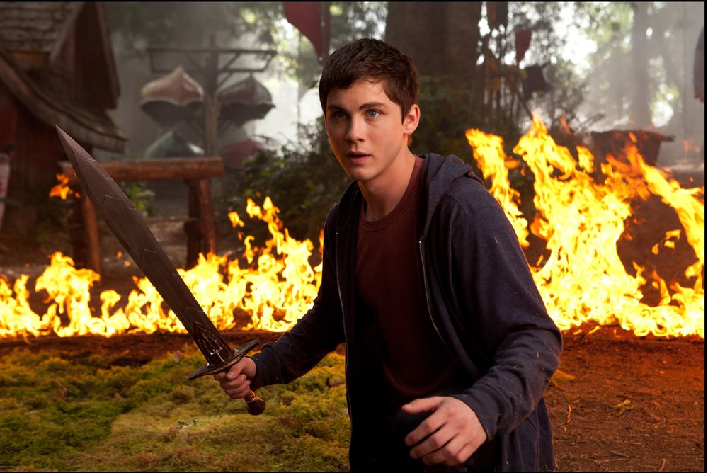 DF-07943 - Percy Jackson (Logan Lerman) engages in a fiery battle.