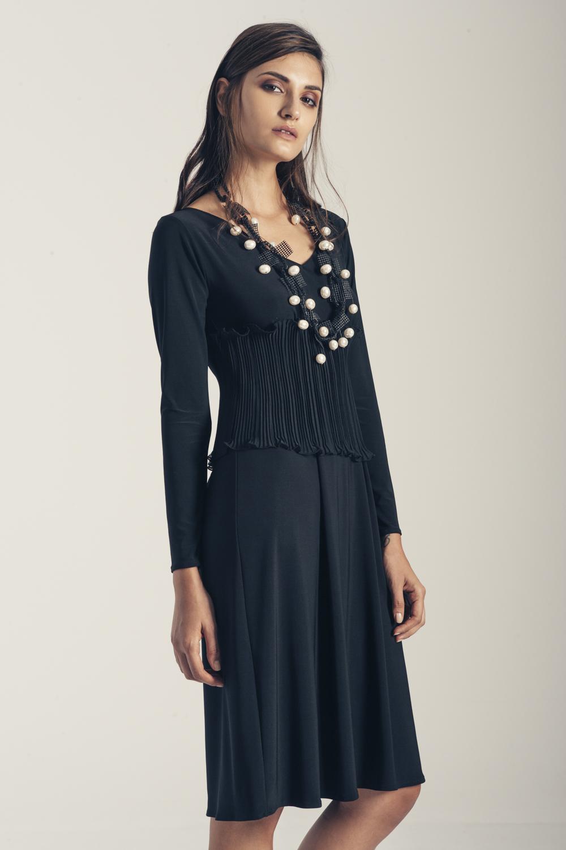 Φόρεμα ζέρσευ Thalia με πλισέ λεπτομέρεια.JPG