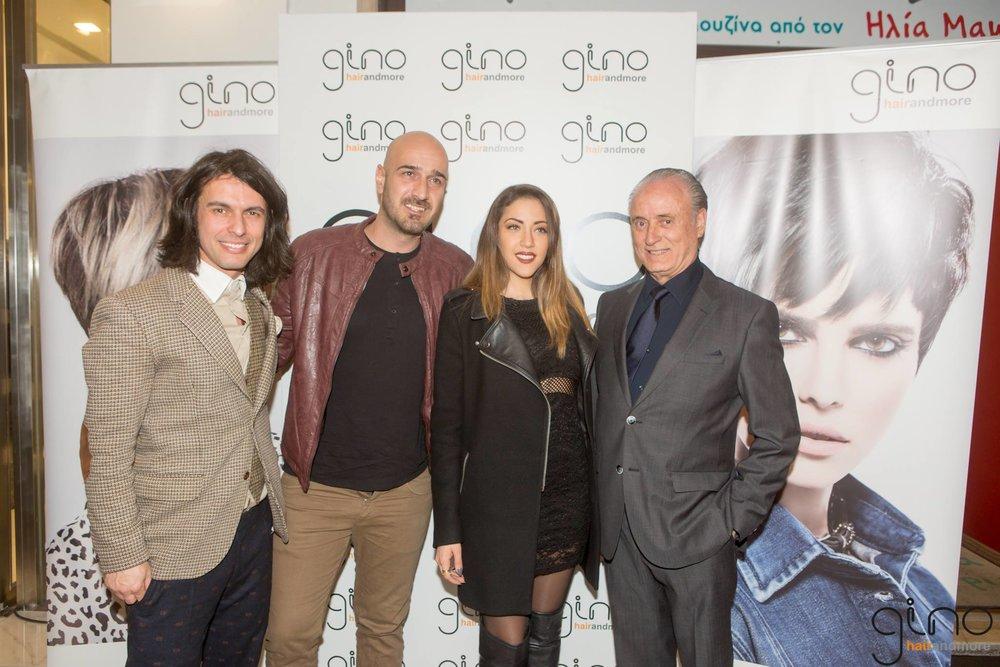 O Artistic Director του gino hairandmore Κολωνακίου Αλέξανδρος Λιακός και ο ιδρυτής και ιδιοκτήτης του ομίλου Gino Bouras με την Αntonella Cuellar και τον Γιάννη Ρουσουνέλο του συγκροτήματος KINGS