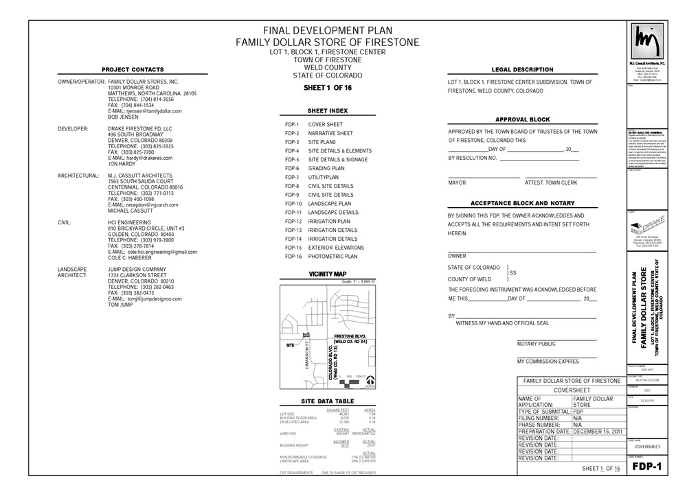 final development plan package coversheet