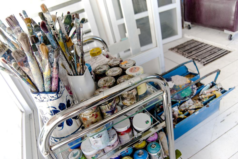 Materiais de pintura, no Open Studio