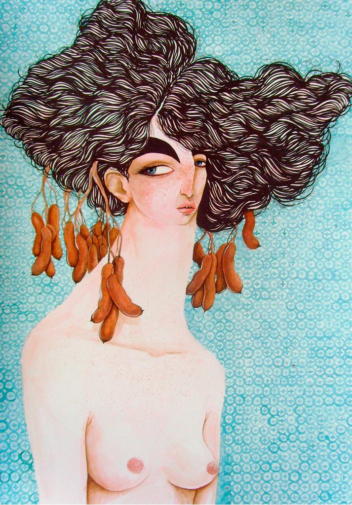 No detalhe,   Dona Tamarindo .   Obra de Nestor Jr Mista sobre papel 35 x 50cm