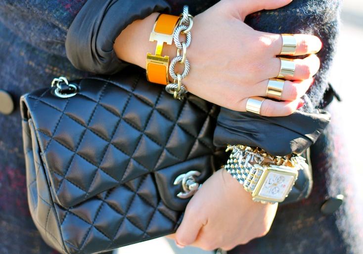 Hermes, David Yurman, Stella and Dot bracelets, Maison Martin Margiela rings, Michele watch, Chanel bag
