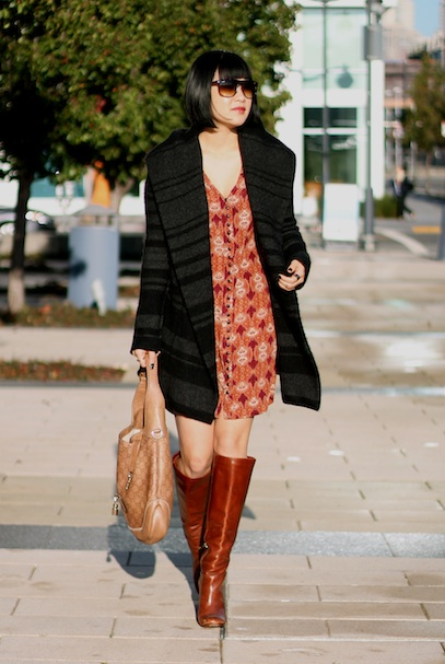 Vince Coat, Club Monaco dress, Tory Burch boots, Gucci bag, Ray-Ban sunglasses