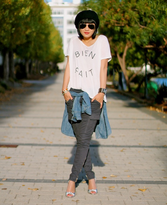 Madewell t-shirt, Madewell chambray shirt, JBrand cargo pants, Steve Madden shoes, Ray-Ban sunglasses, beret-my own.