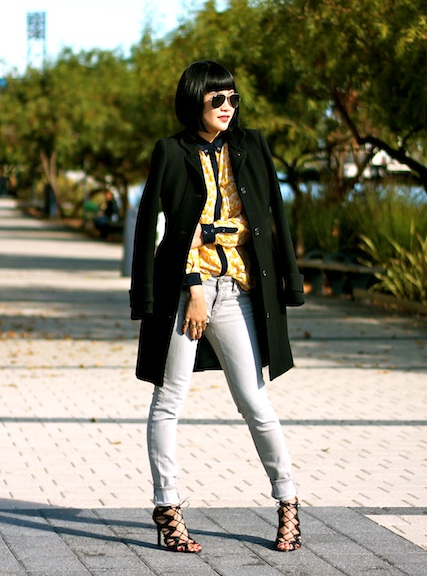 JCrew coat, Anthropologie blouse, Gap jeans, Prabal Gurung x Target shoes, Ray-Ban sunglasses