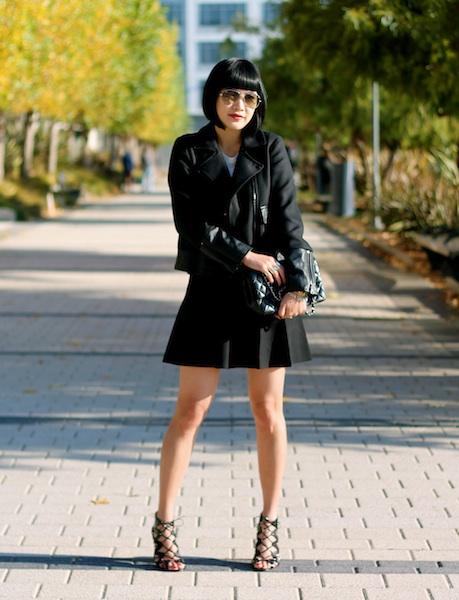Club Monaco jacket ,  skirt  and graphic tee, Prabal Gurung x Target shoes,  Ray-Ban sunglasses , Chanel bag