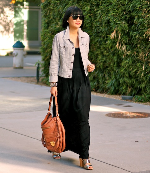 Club Monaco maxi dress and denim jacket, Marc Jacobs bag, Sam Edelman shoes, Ray-Ban Wayfarer sunglasses