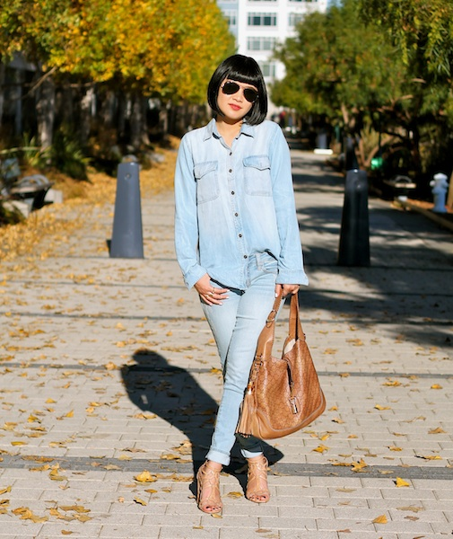 Club Monaco chambray shirt, Gap jeans, Gucci bag, Belle by Sigerson Morrison shoes, Ray-Ban aviators