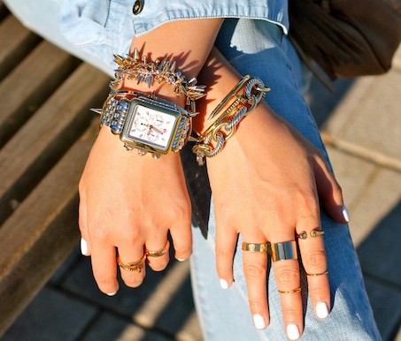 Baublebar, Maison Martin Margiela, Cartier, Anarchy Street, Brandy Pham rings, David Yurman, Anarchy Street, Stella and Dot, Jules Smith bracelets, Michele watch