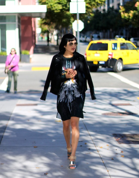 Club Monaco jacket ,  Clover Canyon dress , Sam Edelman shoes,  Ray-Ban aviators