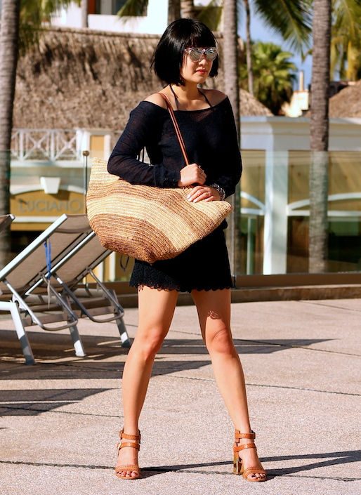 Club Monaco tissue sweater and shorts, Tory Burch bikini, Dolce Vita shoes, Shopbop Basic bag, Sunpocket sunglasses