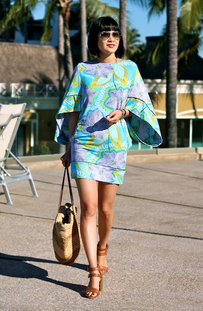 Trina Turk tunic, Trina Turk matching bikini, Dolce Vita shoes, Shopbop Basic bag, Ray-Ban sunglasses