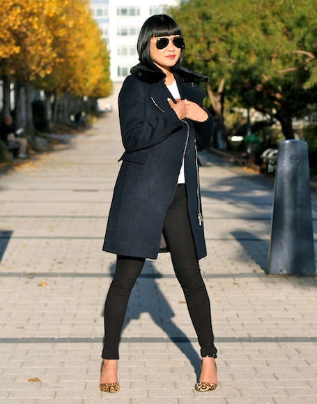 Club Monaco coat and shirt,  Paige denim leggings ,  Sam Edelman shoes ,  Ray-Ban sunglasses