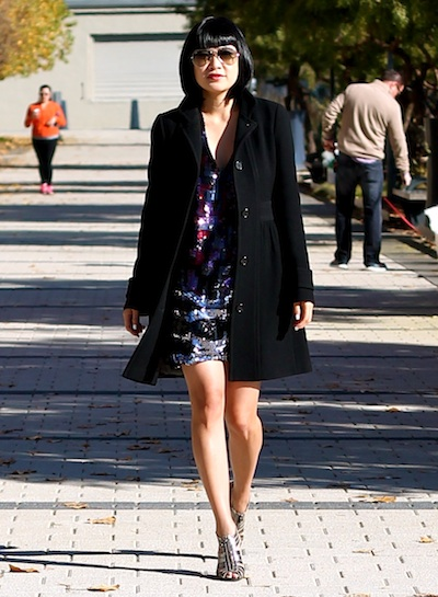 JCrew Coat, BCBG dress, BCBG shoes, Ray-Ban sunglasses
