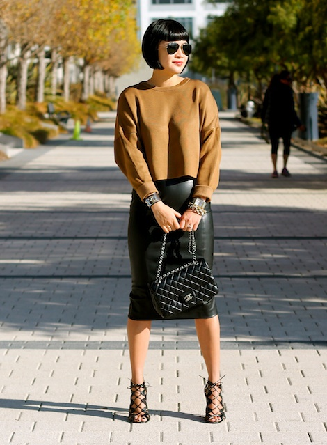 Zara sweater, Zara faux leather skirt, Prabal Gurung x Target shoes, Ray-Ban sunglasses, Chanel bag