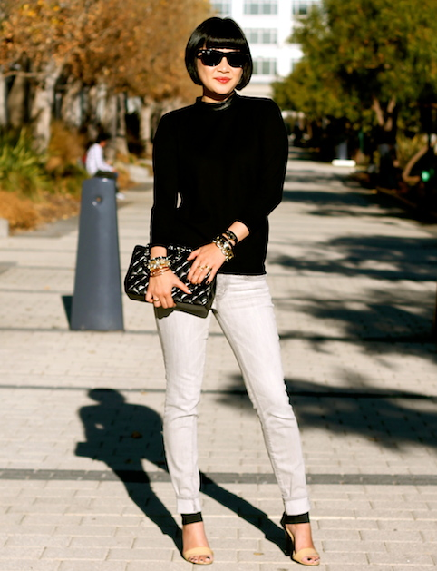 Club Monaco sweater , Gap jeans, Michael Kors heels, Chanel bag,  R  ay-Ban Wayfarer sunglasses