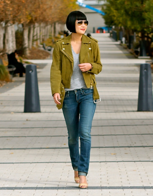 Club Monaco suede jacket ,  Madewell t-shirt ,  Citizens of Humanity jeans , Michael Kors shoes,  Ray-Ban sunglasses