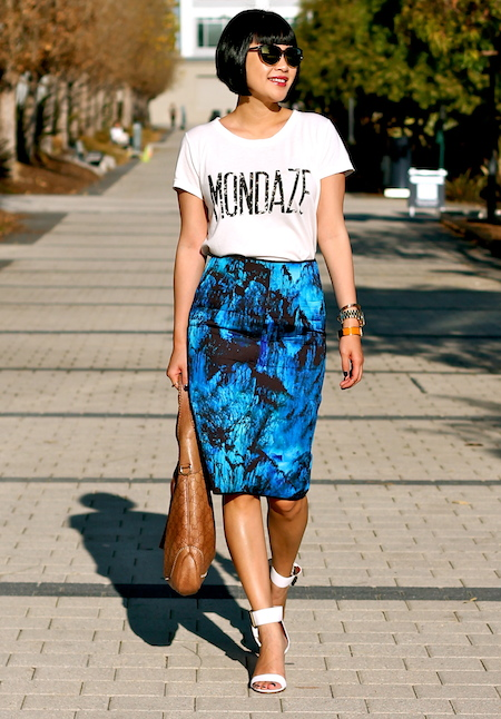 Club Monaco tshirt, Zara skirt, Via Spiga shoes, Selima sunglasses, Gucci bag