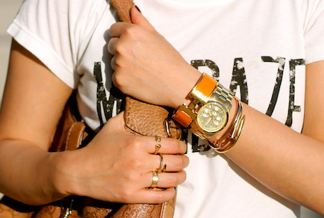 Cartier, Maria Melinda, Anarchy Street rings, Michael Kors watch, Hermes and Anarchy Street bracelets
