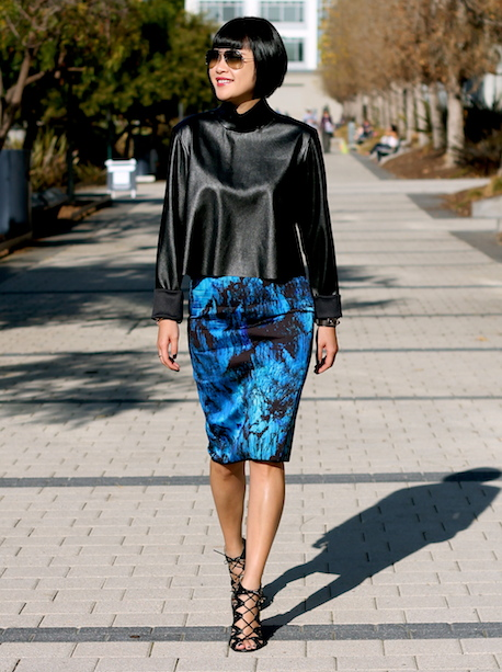 Zara faux leather top and neoprene skirt, Prabal Gurung x Target shoes, Ray-Ban sunglasses