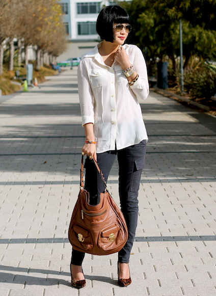 Banana Republic silk shirt, J Brand cargo jeans, Kenneth Cole shoes, Ray-Ban sunglasses, Marc Jacobs bag