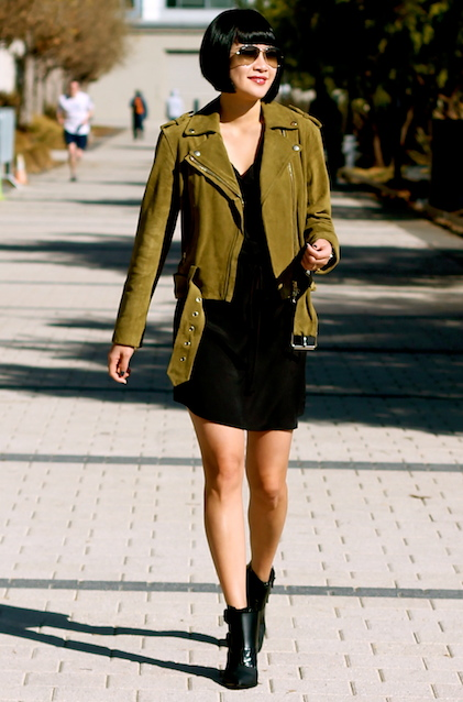 Club Monaco jacket, Aqua x Bloomingdales shirtdress, Tibi booties, Ray-Ban sunglasses