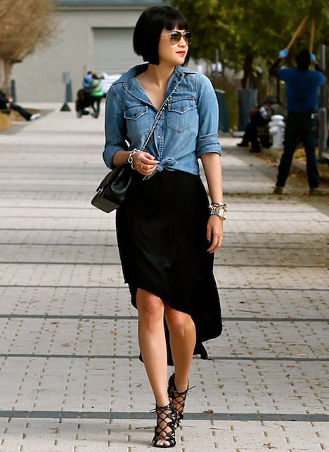 Madewell denim shirt, BCBG silk dress, Prabal Gurung x Target shoes, Chanel bag, Ray-Ban aviator sunglasses