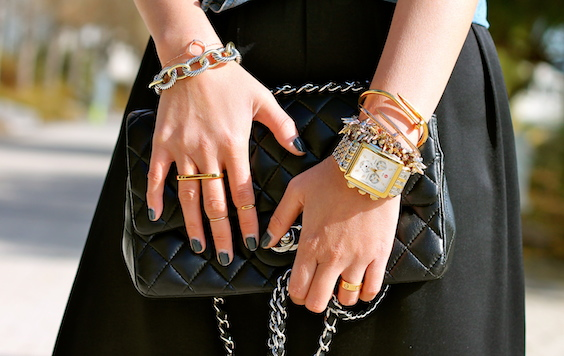 David Yurman ,  Stella and Dot ,  Anarchy Street , bracelets,  Brandy Pham ,  Baublebar ,  Erica Annenberg ,  Cartier rings ,  Michele  watch