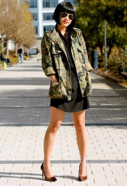 Club Monaco camo jacket, Aqua x Bloomingdales silk dress, Kenneth Cole shoes, Ray-Ban sunglasses