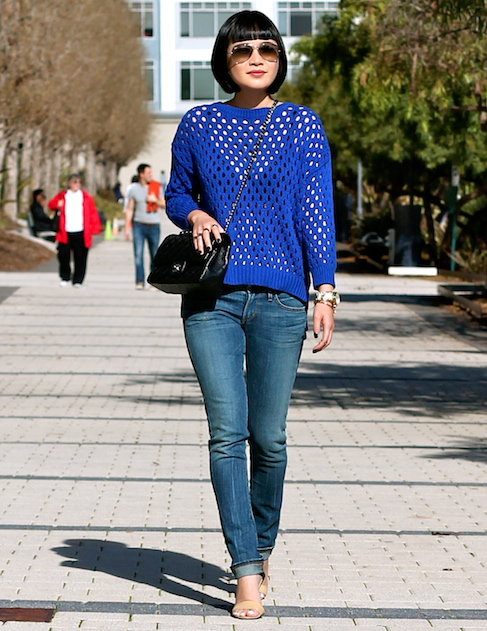 Club Monaco sweater, Citizens of Humanity jeans, Michael Kors shoes, Chanel bag, Ray-Ban sunglasses