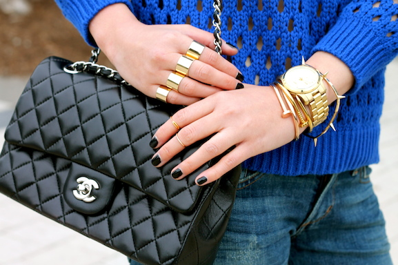 Chanel bag, Maison Martin Margiela, Brandy Pham and Baublebar rings, Anarchy Street and Jules Smith bracelets, Michael Kors watch