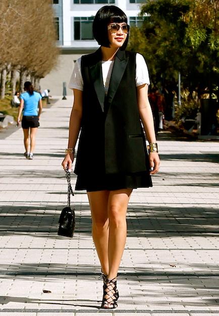 Madewell  vest  and  graphic tee , Club Monaco skirt, Prabal Gurung x Target shoes, Ray-Ban sunglasses, Chanel bag