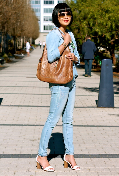 Club Monaco denim shirt and bralette top, Gap jeans, Via Spiga sandals, Gucci bag, Ray-Ban sunglasses