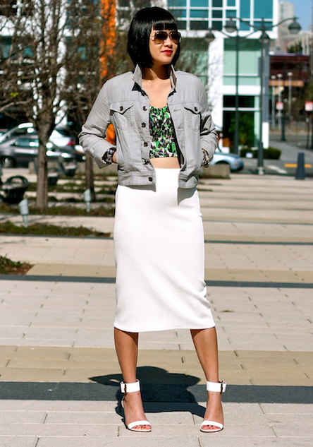 Club Monaco crop top and jacket, Zara white skirt, Via Spiga sandals, Ray-Ban sunglasses