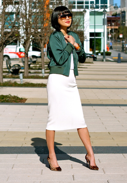Club Monaco bomber jacket, Zara white midi skirt, Kenneth Cole Leopard shoes, Ray-Ban boyfriend sunglasses