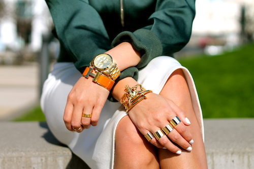 Hermes, Anarchy Street, Svelte Metals bracelets, Maison MArtin Margiela, Cartier rings, Michael Kors watch