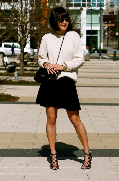 Gap sweater , Club Monaco skirt, Prabal gurung x Target shoes, Selima sunglasses, Chanel bag