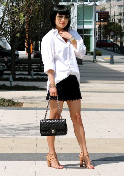 Express for Men button-up, Club Monaco shorts, Belle by Sigerson Morrison shoes, Chanel bag, Ray-Ban sunglasses