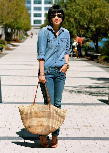 Madewell chambray shirt, Citizens of Humanity jeans, Pour La Victoire shoes, Shopbop Basic bag, Ray-Ban aviator sunglasses