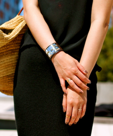 Hermes bracelet, Cartier, Baublebar and Brandy Pham rings
