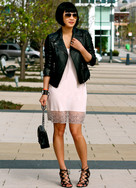 Club Monaco leather jacket,  Calvin Klein chemise , Prabal Gurung x Target shoes, Chanel bag,  Ray-Ban sunglasses