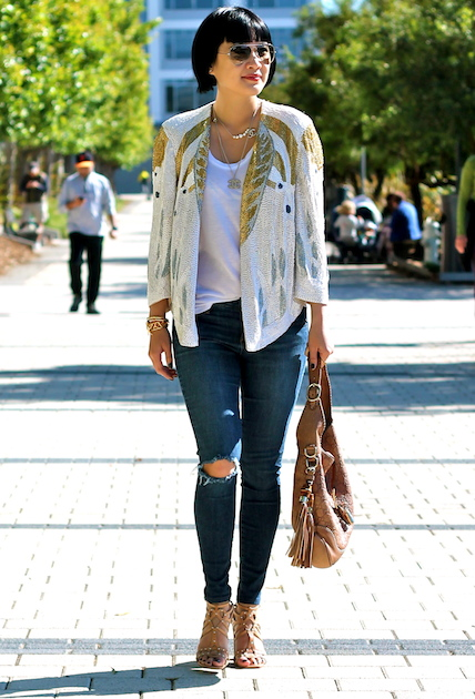Haute Hippie jacket, Club Monaco tank, Joe's Jeans, Belle by Sigerson Morrison shoes, Ray-Ban sunglasses, Gucci bag