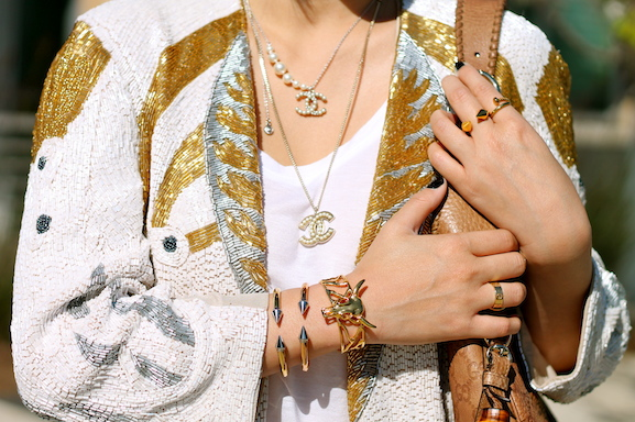 Vita Fede  and  Svelte Metals  bracelets, Vita Fede,  Anarchy Street  and Cartier rings, Chanel necklaces