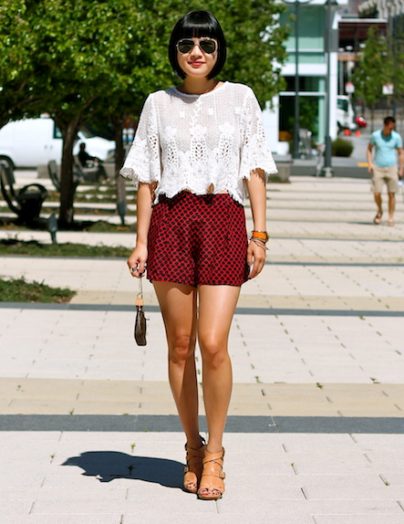 Naive Nation lace top, Club Monaco shorts, Pour La Victoire shoes, Ray-Ban sunglasses, Louis Vuitton bag